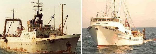 """1. На Большом морозильном рыболовном траулере (БМРТ) """"Иван Малякин"""" в 1981-1982 годах, мною было сделано 2 последних рейса в моей жизни. Начиная с 1980 года, советские БМРТ у берегов Канады и США, тралений не делали, ибо работали в Советско-американской компании (САК), а траление делали канадские и американские траулеры. На советских судах обрабатывали и морозили рыбу. На снимке 2 один из канадских траулеров."""