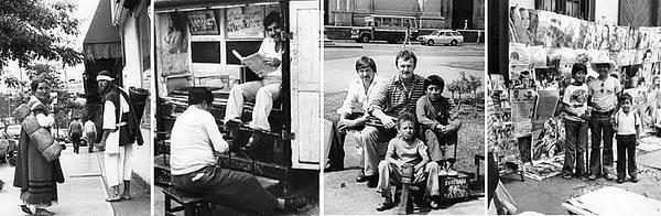 """1. Когда, я на одной из улиц Сиэтла (США) с этими молодыми людьми познакомился, они в таком виде путешествовали уже в 47 стране! 2. В порту Кальяо в данном случае – каждый занят своим делом. 3. Члены экипажа траулера """"Иван Малякин"""" с перуанскими мальчишками – чистильщиками обуви в Лиме. Кто из нас в то время мог подумать, что на территории бывшего СССР детский труд станет, также станет """"модным и почётным""""! 4. Маленькие """"бизнесмены"""" на одной из улиц Лимы. На улицах бывшего Союза, дети в таком же возрасте, нередко что-то продают."""