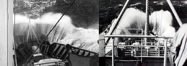 1. Удар волны в нос траулера в 9 бальный шторм. Чтобы получился этот снимок, нужно было простоять на верхнем мостике траулера 1,5-2 часа, чтобы из 30-40 негативов получился один этот снимок в 1970 году. 2. Спустя 10 лет появился ещё один снимок подобного удара волны.